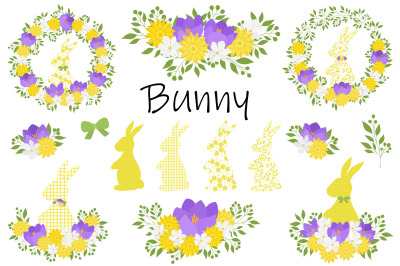 Easter Bunny Silhouette. Happy easter card. Easter Bunny SVG