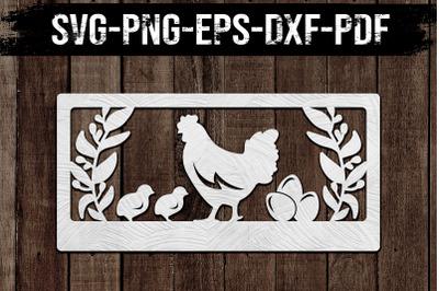 Customizable Chicken Coop Paper Cut Template, Farm SVG, PDF