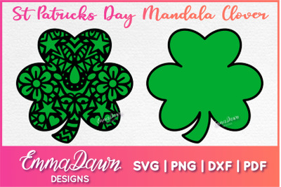 St Patrick's Day Mandala Clover SVG Digital Cutting File