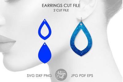 Teardrop earrings SVG, Open teardrop earrings