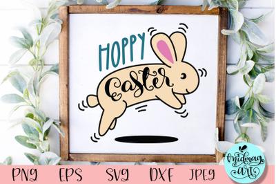 Hoppy easter wood sign svg, easter sign svg