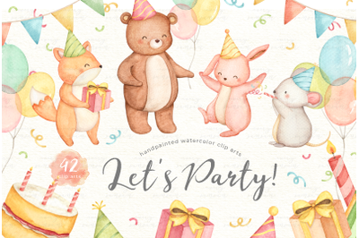 Lets Party Animals Watercolor Set