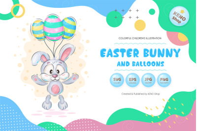 Easter bunny with balloons PNG