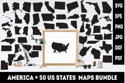 America and 50 US vector states maps. SVG cutting files.