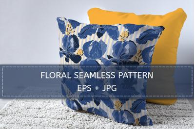 Blue iris flowers pattern