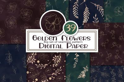 Golden Flowers seamless patterns