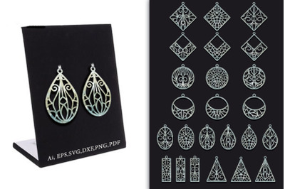 Collection of patterns of earrings with openwork patterns