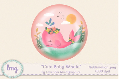 Cute Baby Whale Sublimation PNG