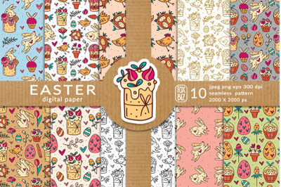 Easter digital paper, seamless pattern.