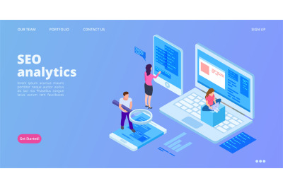 SEO analytics landing page. Isometric SEO optimization vector concept.