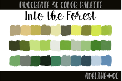 30 color Into the Forest palette
