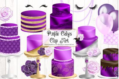 Purple Cakes Clipart