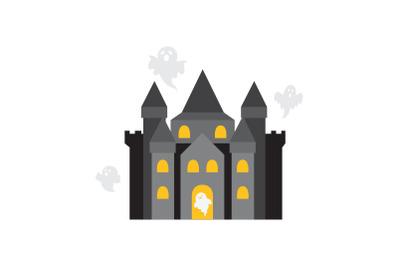 amusement parks haunted house flat icon