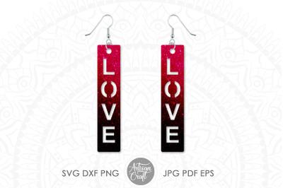 Love script earrings, SVG cut files