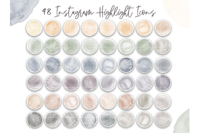 Watercolor Highlight Covers Modern Instagram Icons neutral muted color