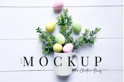 Colorful Easter Eggs Mug Flat Lay Mockup