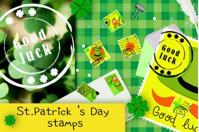 Saint Patrick's Day postage stamps design.