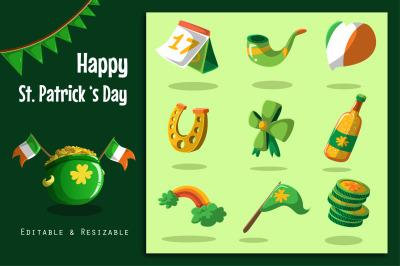 Saint Patricks Day Label and Sticker set