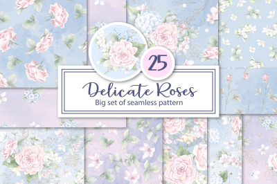 Delicate roses  flowers. Set of seamless patterns digital paper.