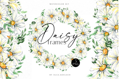 Watercolor daisy wreath clipart, Chamomile flowers clipart, frame png