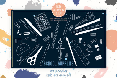 School Supplies White | Hand Drawn Stationary, Office Doodles