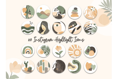 Highlight Covers Modern abstract Instagram Icons Boho neutral muted co