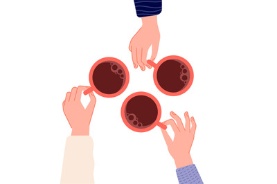 Hands holding cups. Coffee, tea in woman hand. Isolated mugs with hot