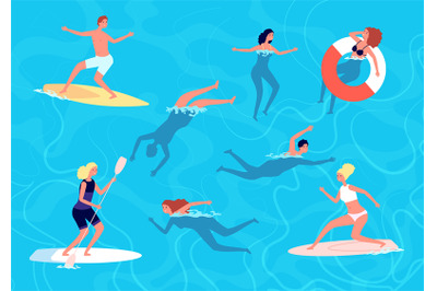 People swimming. Summer swim, woman man in vacation. People in sea or