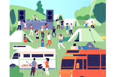 Open air festival. Musical performance, park or camp concert. Outdoor