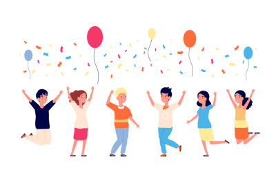 Children birthday party. Happy kids jumping, balloons and confetti. Ca