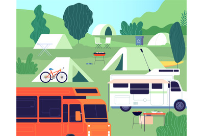 Tourist camp. Sunny forest tree camping, outdoor restfulness. Tourism