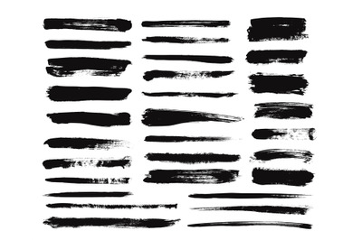 Ink brush stroke. Dry paint long smear, black stains. Isolated texture