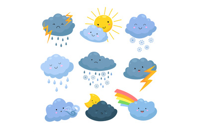 Cartoon weather clouds. Rain, snow elements. Heavenly cloudy shapes, s