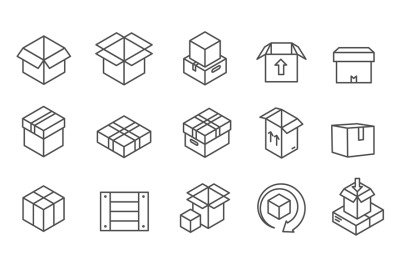 Box line icons. Cardboard boxes, mailing package with arrows. Delivery