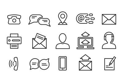 Contact line icons. Minimal business, internet and location outline sy