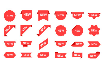 New arrival. Red product labels, retail messages. Product tag, store p
