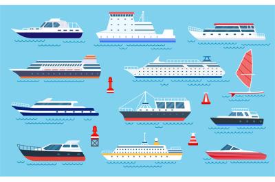 Flat ships. Speed boats, sea transport. Flat cruise yachts, sailboat a