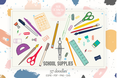 School Supplies Colored | Hand Drawn Stationary, Office Doodles