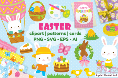 Easter bundle - cute clipart, patterns and cards