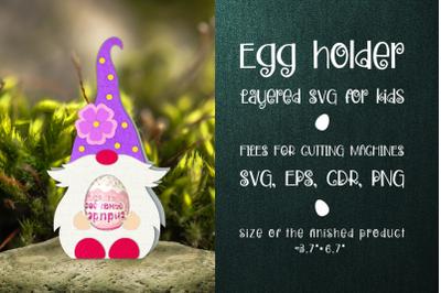Spring Gnome - Chocolate Egg Holder Template SVG
