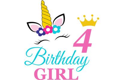Birthday Girl Svg, Birthday Princess Svg, 4 th Birthday Svg, B-day Gir