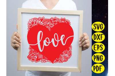 Love Flower Wreath SVG Cut file