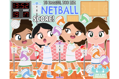Netball Clipart - Lime and Kiwi Designs
