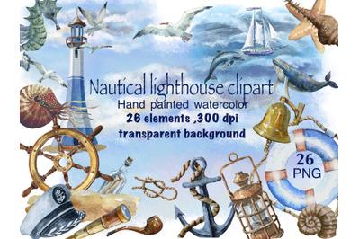. Nautical lighthouse .Marine watercolor set,  ocean watercolor clipar