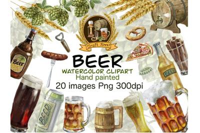 Beer watercolor clipart,set of bottle glass drinks, beer barrel ,beer