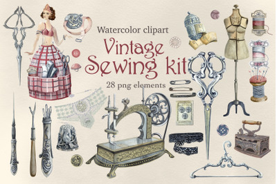 Sewing clipart,Antique watercolor set,,Branding kit,Retro sewing clip