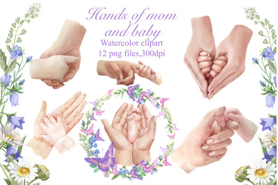 Mothers Day. Watercolor clipart of mom and baby hands, baby leg,frames