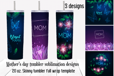 Mothers Day tumbler sublimation design. Skinny tumbler png.