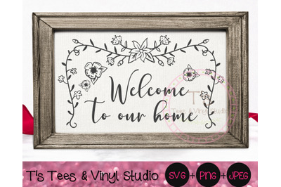 Welcome To Our Home SVG, Welcome Mat, Home Sign, Floral Garland, Count