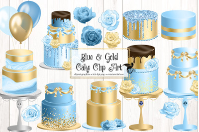 Blue and Gold Cakes Clip Art